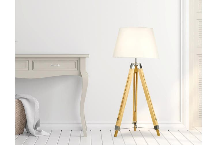 Modern Floor Lamp Wood Tripod Home