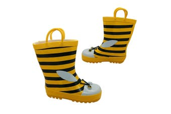 Aussie Gumboot Bee Kids Pull On Gumboots Yellow/Black Stripes Size 5 - 12