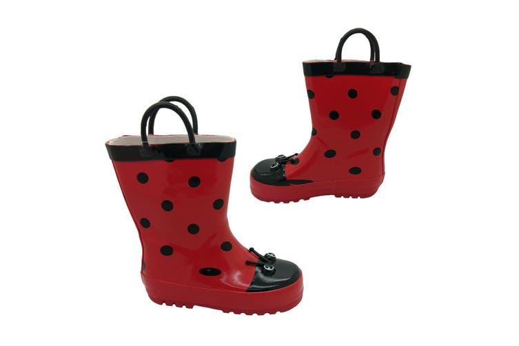 Aussie Gumboot Ladybird Kids Pull On Gumboots Red/Black Spots Size 5 - 12