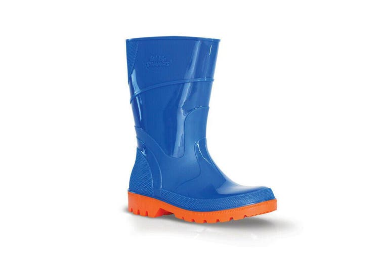 Bata Bubblegummers Kids Gumboot Australian Made Hi Cut All Purpose Blue Orange Toddler Size 4 to Youth 2