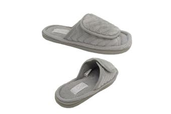 Grosby Lush Invisible Support Adjustable Ladies Slipper Grey Velour Upper