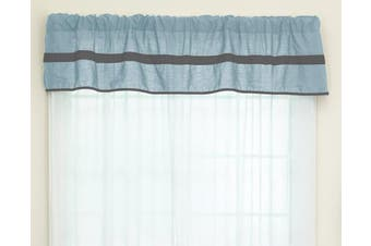 (Light Blue/Grey) - Baby Doll Bedding Solid Stripe Window Valance, Light Blue/Grey