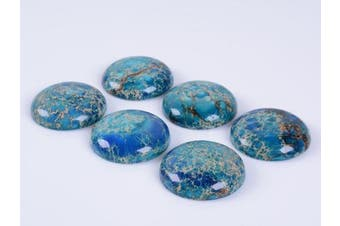 (Blue Sea Sediment Jasper) - 30 x 30mm Large Round Cabochon CAB Flatback Semi-Precious Gemstone Stone (Blue Sea Sediment Jasper)