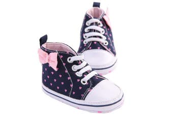 (13 (12-18 Months), Pink Love Print) - WAYLONGPLUS Infant Canvas Soft Sole Anti-Slip Prewalker Toddler Crib Shoes Love Print Sneaker (Pink Size 13)