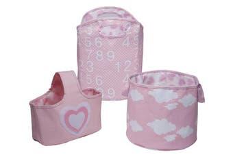 Delta Children 3 Piece Canvas Nursery Storage Set, Pink Heart