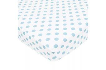 American Baby Company 100% Cotton Flannel Fitted Crib Sheet, White with Blue Dot, 70cm x 130cm
