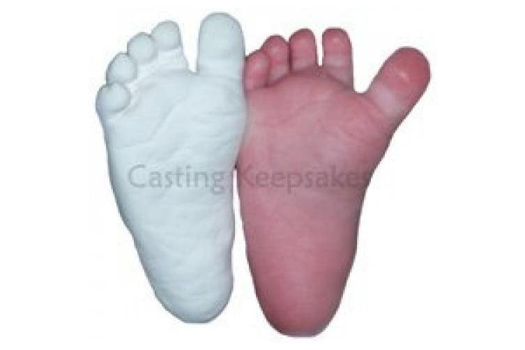 (Pearl) - Luna Bean Infant Plaster Statue Casting Keepsake Kit - Cast Baby Hand & Foot (0-9M) (Pearl)