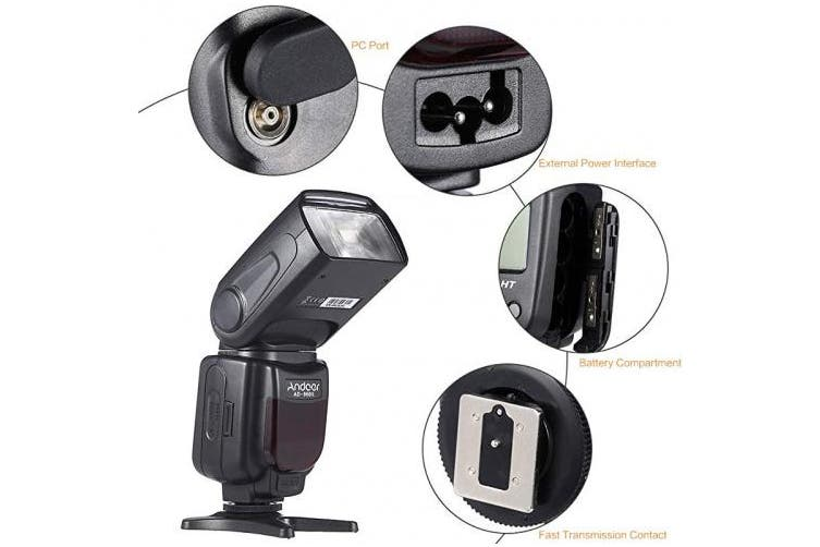 (pour tous) - Andoer Universal AD-960II On-camera Speedlite Flash GN54 with LCD Display for Nikon Canon Pentax DSLR Camera