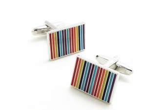 Covink Novelty Rainbow Rectangular Cufflinks 7 Colours Striped Cuff Button Multi Coloured with Gift Bag