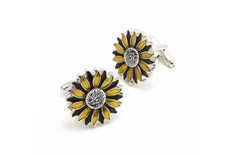 Covink Athens God Sunflowers Romantic Cuff Couple Lovers Cufflinks French Cuff Buttons in Enamel with Gift Box