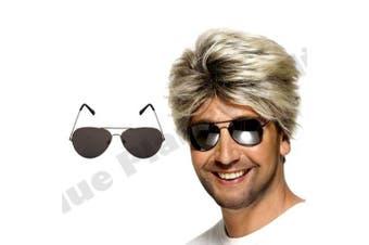 Blue Planet Online - George Michael Wham Wig & Aviator Sunglasses 1980s 80s Fancy Dress