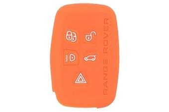 (Orange) - Fassport Silicone Cover Skin Jacket for LAND ROVER 5 Button Smart Key CV2703 Orange