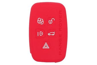 (Red) - Fassport Silicone Cover Skin Jacket for LAND ROVER 5 Button Smart Key CV2703 Red