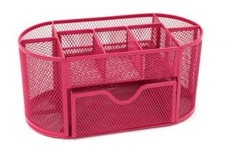 (Pink) - Generic Mesh Desk Organiser Tidy Set Office Organiser Supply Caddy with Drawer ,Pink