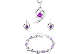 element Amethyst gentle angel Silver pendant Necklace + earring+ double heart bracelet set ,for women girls. (f151)