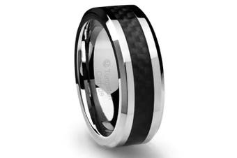 (X) - Cavalier Jewellers 8MM Men's Tungsten Carbide Ring Wedding Band with Black Carbon Fibre Inlay