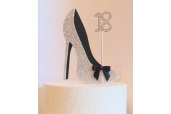 18th Birthday Cake Decoration Silver and Black Shoe with Satin Bow Embellishment and Diamante Number (Non- Edible)