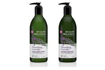 Avalon Organics Nourishing Glycerin Lavender Hand Soap and Hand & Body Lotion Bundle With Aloe, Plant Lipids, Beta-Glucan, Calendula and Vitamin E, 350ml each