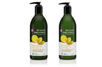 Avalon Organics Refreshing Glycerin Lemon Hand Soap and Hand & Body Lotion Bundle With Aloe, Plant Lipids, Beta-Glucan, Calendula and Vitamin E, 350ml each