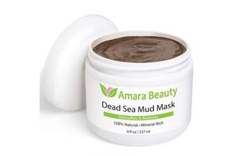Amara Organics Dead Sea Mud Mask for Face & Body - Pure Mud with No Fillers Detoxifies & Restores Healthy Skin - 240ml
