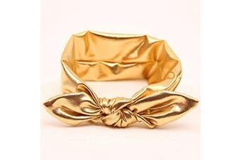 Akak Store New Fashion Children Metallic Messy Big Bow baby Girls Elasticity Headband Baby kids Cloth Turban Knot Hairband Wrap(1Pcs,Gold)
