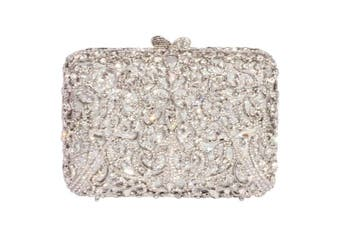 (One Size : 15cm  (L) x 12cm  (H) x 4.5cm  (W), White Crystal - Silver Plated) - Digabi Glittering Purses Floral Design Square Shape women Crystal Evening Clutch Bags