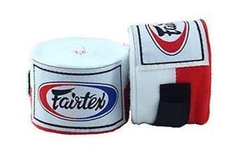 (460cm , RED/WHITE) - Fairtex Elastic Cotton Handwraps HW2-120 and 460cm - Full Length Hand Wraps. Many Colours
