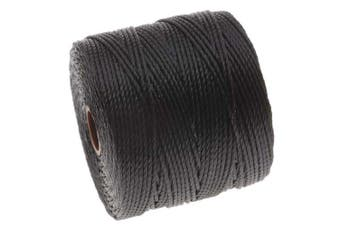 Beadaholique SLBC-BK BeadSmith Super-Lon Twisted Nylon Cord, Size 18, Black