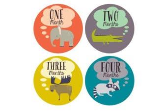Lucy Darling Monthly Baby Stickers - Gender Neutral - Retro Animals - Months 1-12