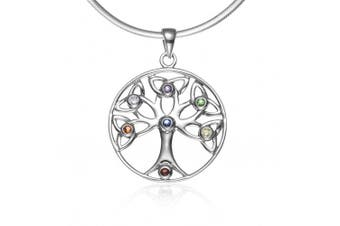 925 Sterling Silver Celtic Knot Trinty Tree of Life Seven (7) Chakras Pendant Necklace, 46cm