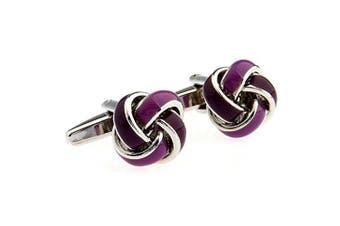 Covink Simple Ball Knot Shape Men's Spherical Copper Cufflinks Purple One Pair