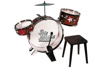 Simba 106839858 Music World' Kids Set | 55 cms Toddler Kit with 1 Large, 2 Small Drums, Metal Cymbals, Foot Pedal & Stool | Ages 4+