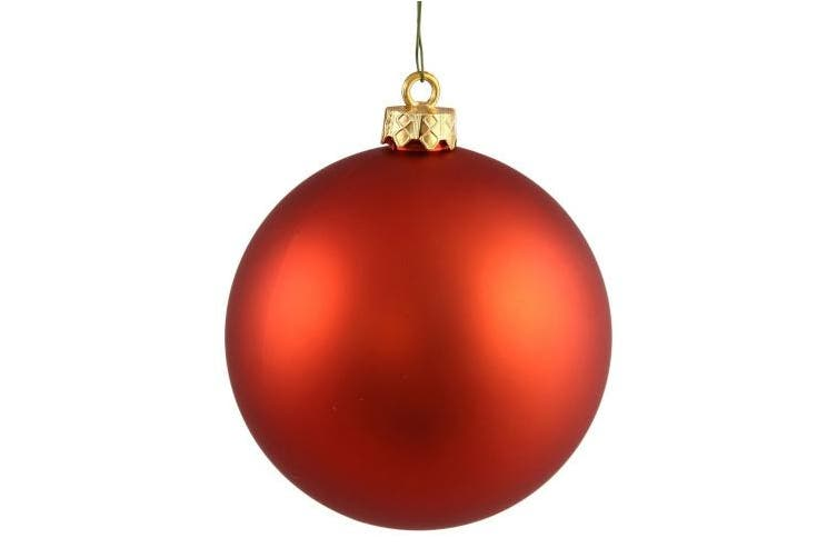 (Matte, Burnished Orange) - Vickerman Matte Finish Seamless Shatterproof Christmas Ball Ornament, UV Resistant with Drilled Cap, 6 per Bag, 10cm , Burnish Orange