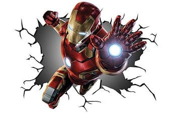 Marvel Avengers Iron Man V00258 Wall Crack Wall Smash Wall Sticker Self Adhesive Poster Wall Art Size 1000mm wide x 600mm deep (large)