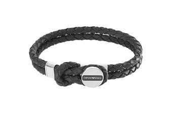 Emporio Armani EGS2178040 Mens Signature Black Leather Bracelet