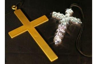 (Gold Cross) - Monk-Nun-Ozzy Osbourne-Madonna-80's PLASTIC CROSS Available in Gold or Silver - Great Fancy Dress Accessory (Gold Cross)