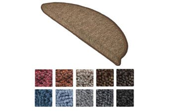 (Brown) - Beautissu 15 Set of Stair Pads ProStair 15 x 56 cm Step Carpet Non Slip Adhesive Rug / Mat for Stair Tread Brown