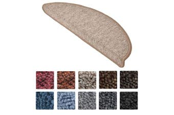 (Sand) - Beautissu 15 Set of Stair Pads ProStair 15.5 x 55 cm Step Carpet Non Slip Adhesive Rug/Mat for Stair Tread Sand