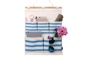 (Navy Stripe) - Storage Bag,HomeCube Linen/Cotton Fabric 5 Pockets Wall Door Cloth Hanging Storage Bag Home Organiser Navy Stripe