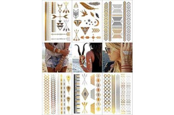 (Universe) - COKOHAPPY 6 Sheets Fake Jewellery Metallic Temporary Tattoo , Universe Wing Feather Dream Catcher Gold Silver