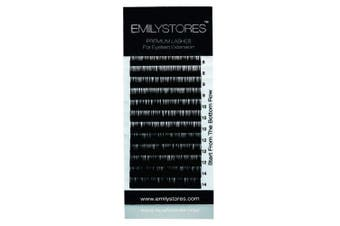 (8-14MM Mixed) - EMILYSTORES 0.10MM Thickness B Curl Length 8mm-14mm Mink Silk False Lashes Assort Mixed In One Tray For Eyelash Extensions