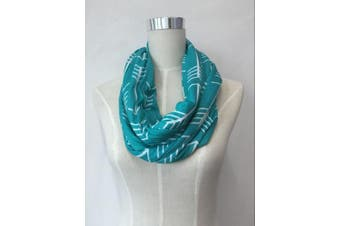 (Turquoise w/White Arrows) - Nursing Scarf and Breastfeeding Cover Up Hides Back Breast Pump Privacy