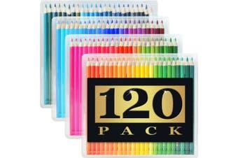 120 Coloured Pencils (GIANT EXTRA LARGE SET) - 120 Unique Colours (NO DUPLICATES) - Premium Grade & Pre-Sharpened - Colour Coordinating Barrels - Perfect for Kids, Art School Students, or Professionals!