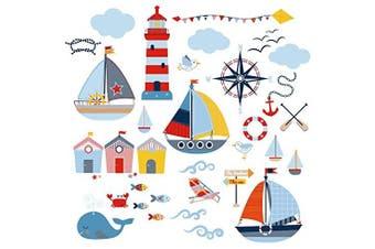 Sail Away Nursery/Boys Room Decorative Peel & Stick Wall Art Sticker Decals