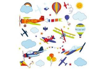 Aeroplanes Nursery Nursery/Boys Room Peel & Stick Wall Art Sticker Decals