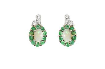 925 Sterling Silver Real Emerald, Opal and Diamond Oval Stud Earrings - May Birthstone