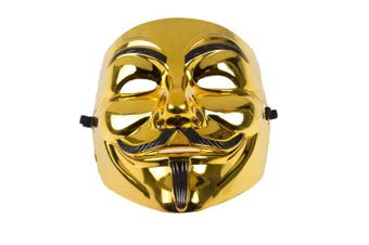 (Gold/Black) - Rock 990223 Guy Fawkes Anonymous V for Vendetta Mask, Unisex-Adult, Gold/Black, One Size