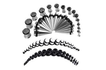 (Black and White) - BodyJ4You 72PC Gauges Kit Acrylic Plugs Stainless Steel Tapers 14G-00G Ear Stretching Piercing Set