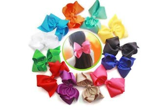 (12 pcs) - Cellot Boutique Teens Girls Big Hair Bows Clips | 12 Pcs 20cm Grosgrain Ribbon Large Bows Durable Metal Alligator Clip | No Fraying No Slipping Pinwheel Bow Clips For Girls Toddlers Teenager Kids