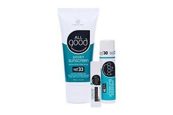 All Good Sun Care Set| SPF Lip Balm, Water Resistant Lotion & Butter, & Face/Nose/Ear Sunstick | Zinc Oxide - Coral Reef Safe (Unscented)